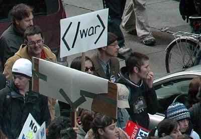 戦争抗議をHTMLタグで表現