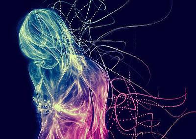 光と線で描かれた妖精のようなアート