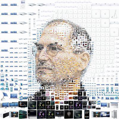 Macの製品によって作られたスティーブ・ジョブスの顔