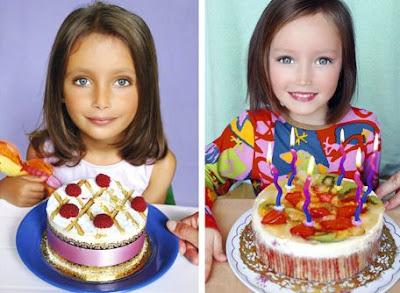 かわいい子供とかわいいケーキのマッシュアップ画像