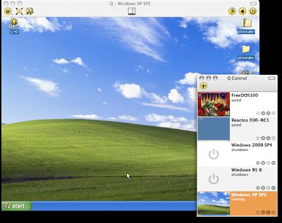 Mac OSX上でWindowsを動作可能な「Q emulator」