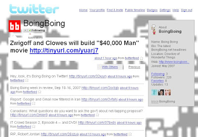 BoingBoingがTwitterサービスを開始した