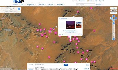Flickrのモニュメントバレーの風景のインターフェースがかっこいい