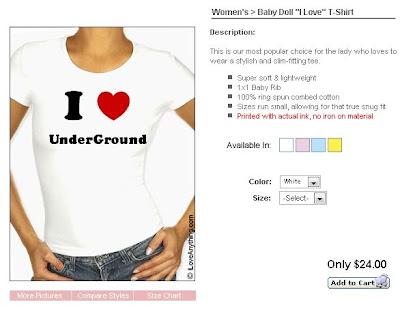 「I Love XXX」のTシャツをデザインし購入することが可能なサイト