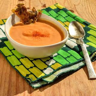Vegan Pumpkin Soup with Smoky Maple Pepita Brittle.