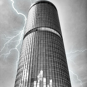Sabah Foundation by Richard Ho - Buildings & Architecture Architectural Detail ( lightning, building, monochrome, cylinder, tall )