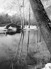 Photo: Black and white photo of a stone bridge and trees at Eastwood Park in Dayton, Ohio.