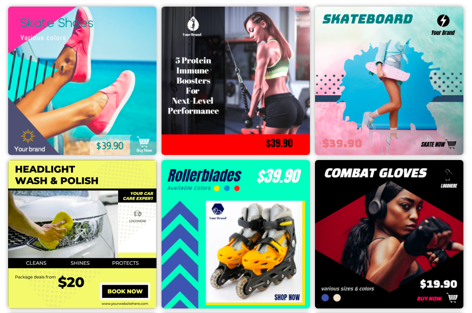 Plantillas de anuncios de producto o anuncios de display disponibles en Designmaker.