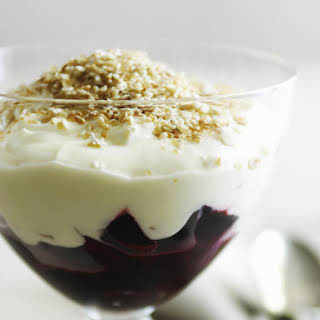 Cherry Parfait with Crunchy Sesame Topping.