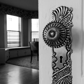 Welcome! by Susan Englert - Buildings & Architecture Architectural Detail ( open, doorknob, entry, door, enter, brass, welcome,  )