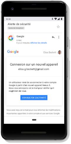 Alerte de sécurité Gmail en cas de connexion sur un nouvel appareil