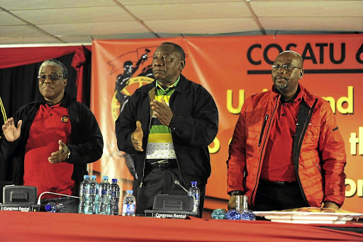 Recapture: Tyotyo James, Cyril Ramaphosa and Sdumo Dlamini at the sixth Cosatu central executive committee meeting in Pretoria on Tuesday, when Ramaphosa called for action against state capture.Picture: THULANI MBELE