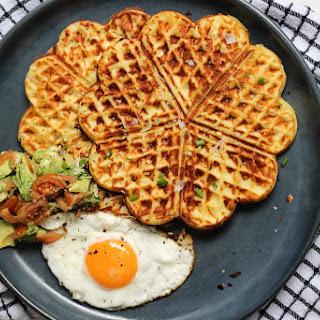 Mash Potato, Parmesan and Chive waffles.
