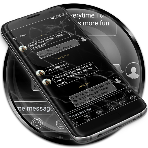 SMS Messages Marble Black Skin