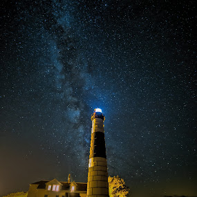 Big Sable Lighthouse  by Jeffrey Genova - Landscapes Starscapes ( michigan, stars, lighthouse, lake, night, beach, milky way,  )