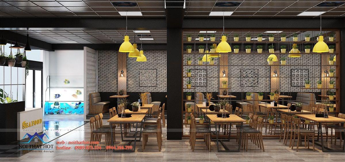 thiết kế nội thất nhà hàng hải sản đẹp mắt