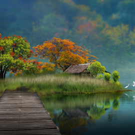 Dream land on the lake by iD 's - Digital Art Places ( surreal, art, green, nature, tranquility )