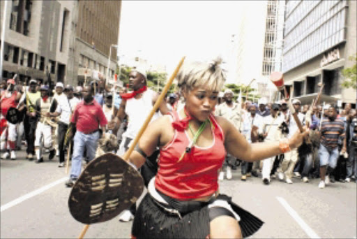 NOT HAPPY: Hostel residents march in Durban to protest against high rent and other grievances. Pic: THULI DLAMINI. 31/01/2010. © Sowetan.