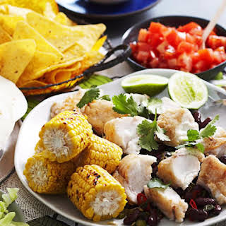Fish Tacos with Grilled Corn and Spicy Kidney Beans.