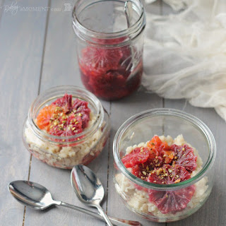 Rice Pudding with Blood Oranges in Vanilla Cardamom Syrup.