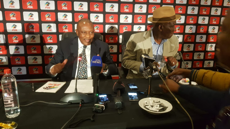 PSL chairman Irvin Khoza and Police Minister Bheki Cele at the Emperors Palace in Johannesburg on Thursday.