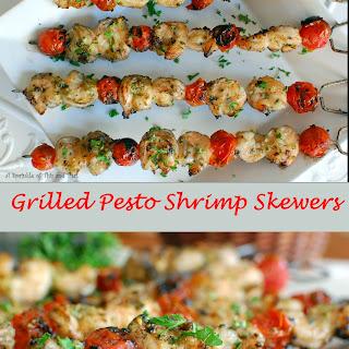 Grilled Pesto Shrimp Skewers.