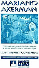 """Photo: """"Mariano Akerman: Continente y Contenido"""" (Continent and Contents), solo exhibition poster, issued by Banco Mayo, May-June 1990 http://akermariano.blogspot.com/2012/12/mariano-akerman.html"""