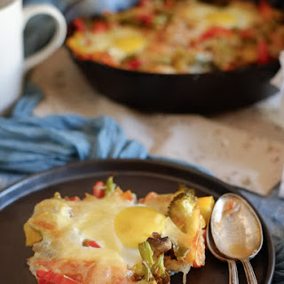 Baked Eggs on a Bed of Vegetables.