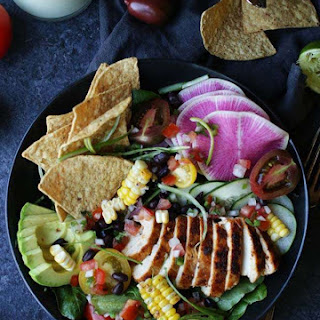 Taco Salad Recipe with Chicken and Avocado Lime Dressing Recipe