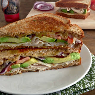 Turkey Avocado Grilled Cheese Sandwich.