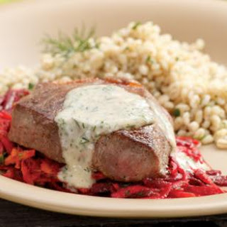 Seared Strip Steaks with Horseradish-Root Vegetable Slaw
