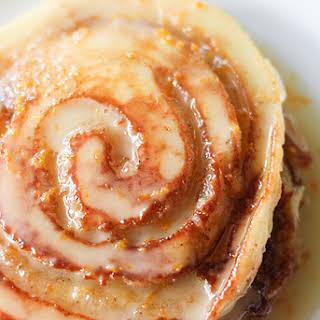 Orange Sweet Roll Pancakes.