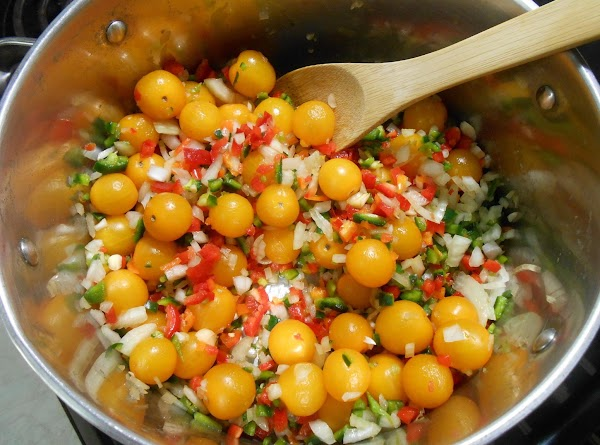 Dice peppers and onion finely, add to large pot with about 1-2 tbsp. of...
