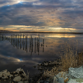 Sunset at Blackwater WR, Cambridge, MD by Sally Shoemaker - Landscapes Waterscapes