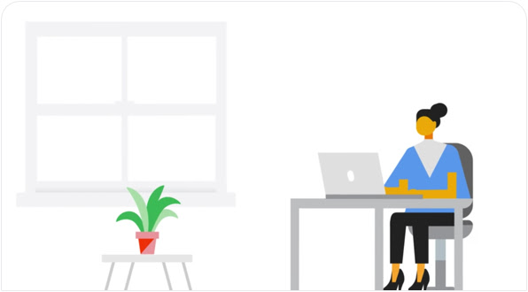 Graphic of woman sitting at a desk with an open laptop