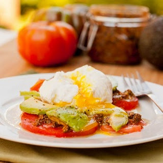 Poached Eggs with Pesto and Avocados.