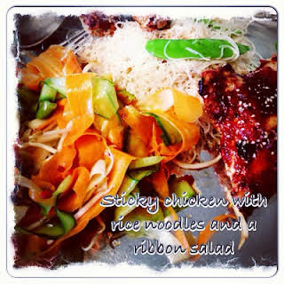Sticky Chicken and Ribbon Salad.