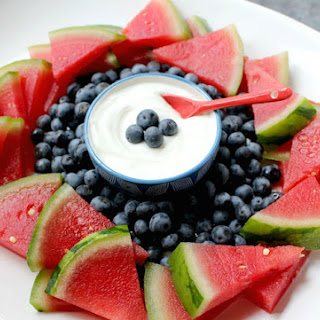 Red, White, and Blue Fruit Platter with Yogurt Dip