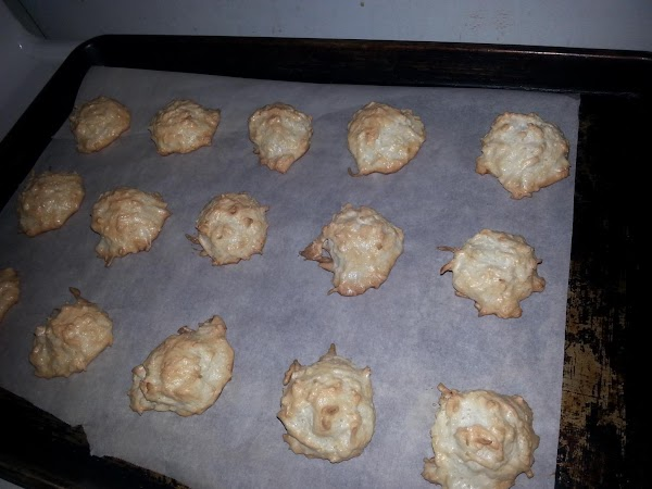 Bake the macaroons 15-20 minutes or until golden. Let them cool on the pan...