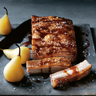 Crispy Pork Belly with Cider Pickled Pears Recipe
