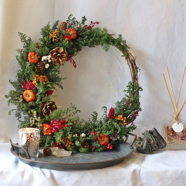 聖誕花圈DIY-乾燥花聖誕花圈
