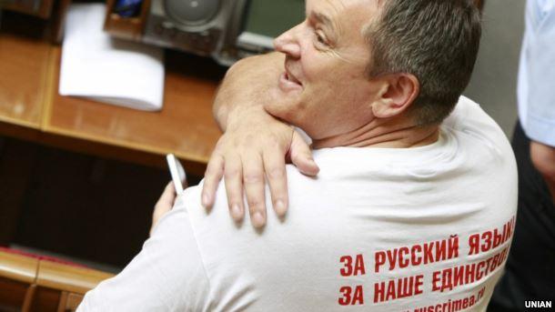 Народний депутат із фракції Партії регіонів Вадим Колесніченко, один із авторів мовного законопроекту, в залі засідань Верховної Ради України, 25 травня 2012 року