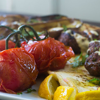 Grilled Kofta with Eggplant and Tomatoes.