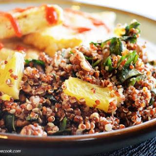 Crispy Tofu with Orange Pecan Quinoa.