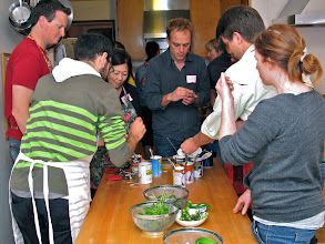 Photo: class engages in a coconut milk-tasting exercise