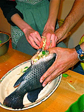 Photo: stuffing tilapia with crushed herbs