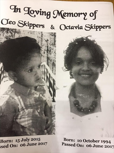 Photographs of Octavia Skippers and her daughter Cleo in the funeral programme . Image by Petru Saal.
