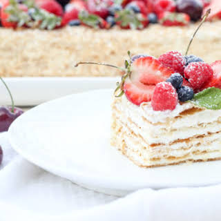 Layered Pastry Cake with Fruits.