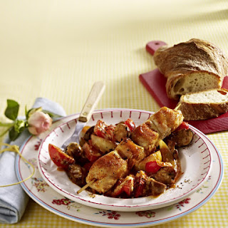 Chicken Kebabs with Sautéed Vegetables.