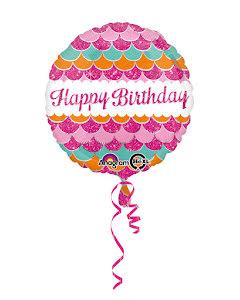 Folieballong Happy Birthday, rosa